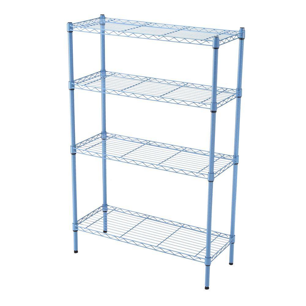 35-5/7 in. W x 53-3/4 in. H x 14 in. D Blue 4-Tier Wire Shelf