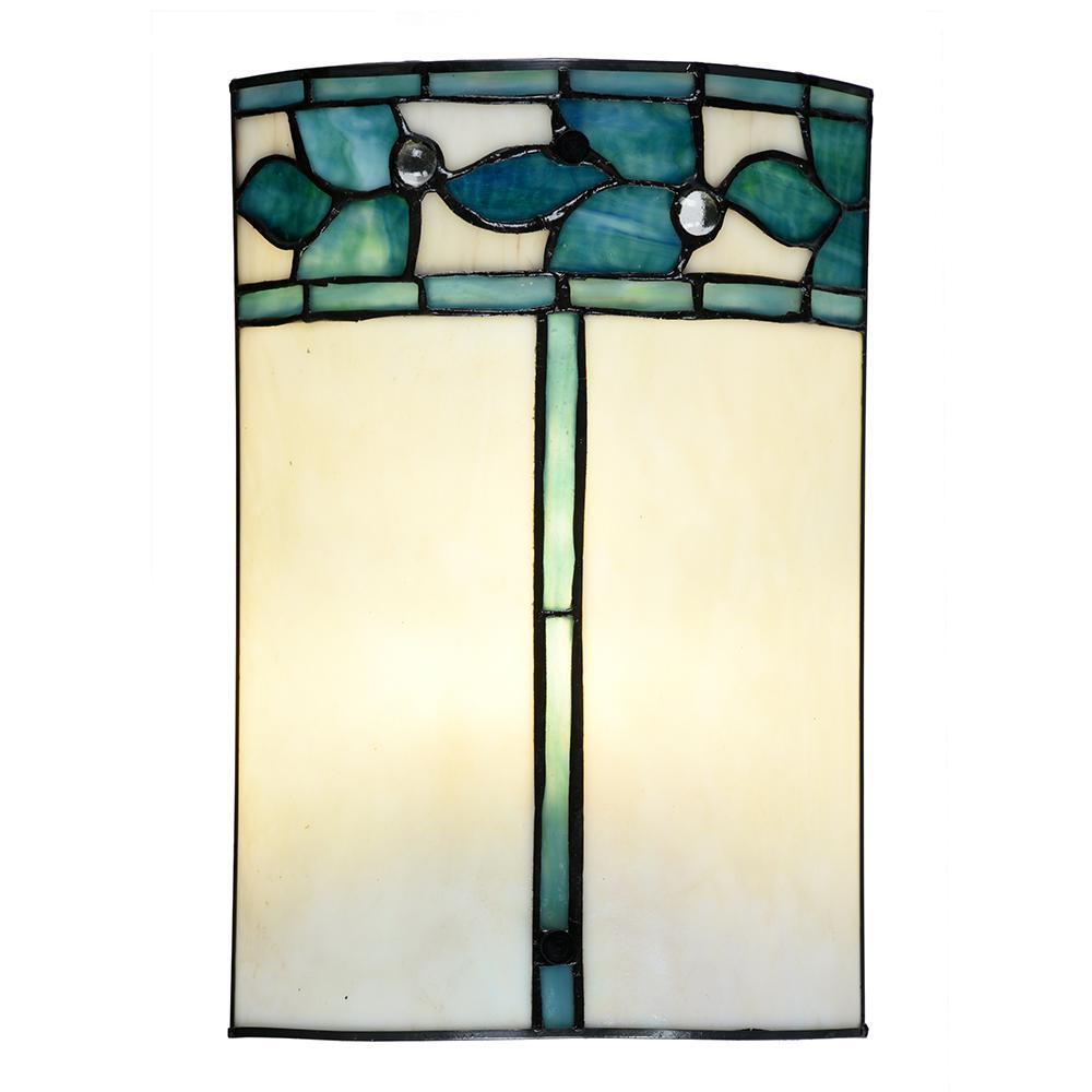 Green Leaves 60-Watt Tiffany Bronze Integrated LED Hand Rolled Art Glass