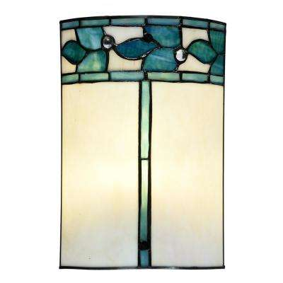 Green Leaves 60-Watt Tiffany Bronze Integrated LED Hand Rolled Art Glass Wall Sconce