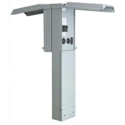 RV Pad Mount Pedestal with Back to Back Dual 100 Amp 120/240-Volt Panels with 50, 30 and 20 Amp GFCI Receptacle