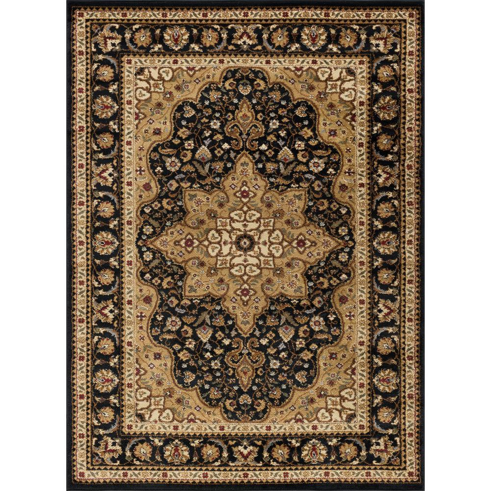 Elegance Black 8 ft. x 10 ft. Traditional Area Rug