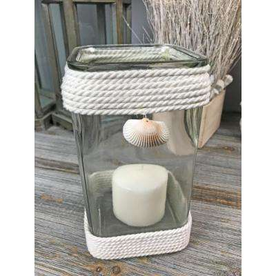 Sea Shell Rope Glass Small Square Candle Holder