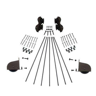 Oil Rubbed Bronze Contemporary Rolling Ladder Hardware Kit