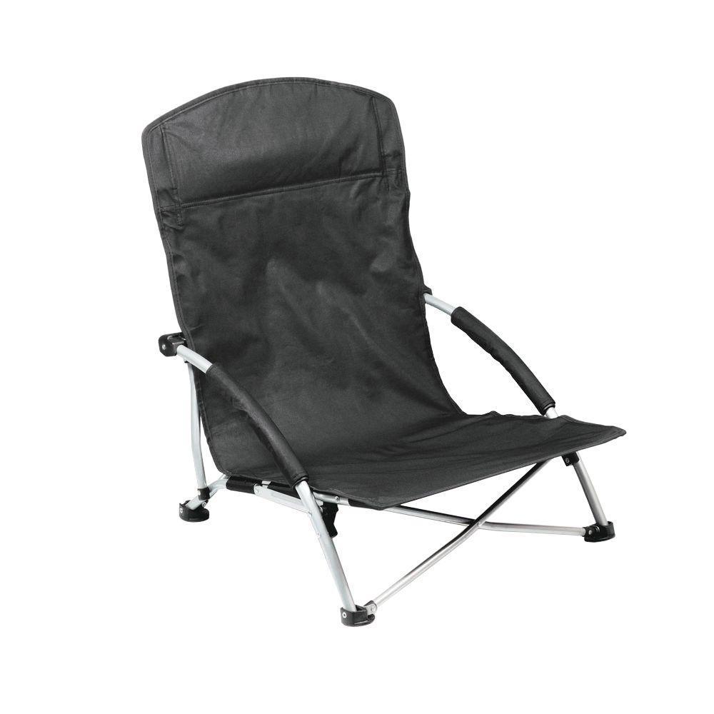 Picnic Time Black Tranquility Portable Beach Patio Chair