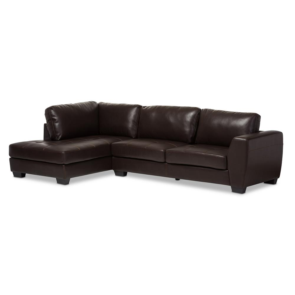 Orland 2-Piece Contemporary Brown Faux Leather Upholstered Left Facing Chase