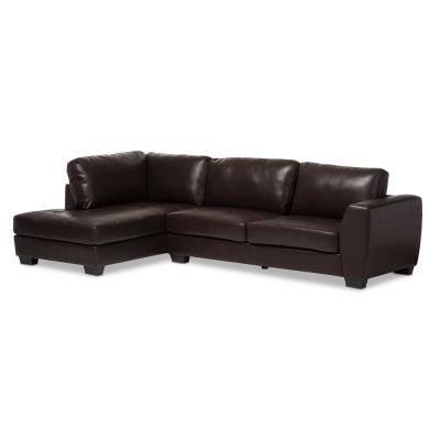 Orland 2-Piece Contemporary Brown Faux Leather Upholstered Left Facing Chase Sectional Sofa