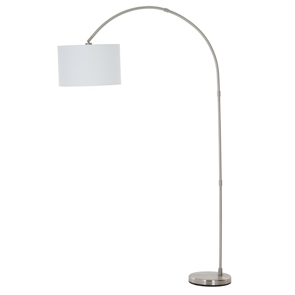 79 in. Brushed Nickel Arc Floor Lamp with Linen Shade