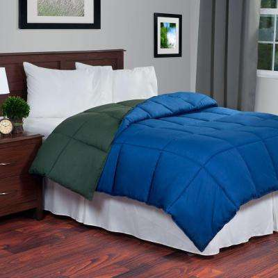 Reversible Green/Navy Down Alternative Twin Comforter