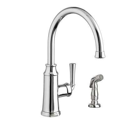 Portsmouth High-Arc Single-Handle Standard Kitchen Faucet with Side Sprayer in Polished Chrome