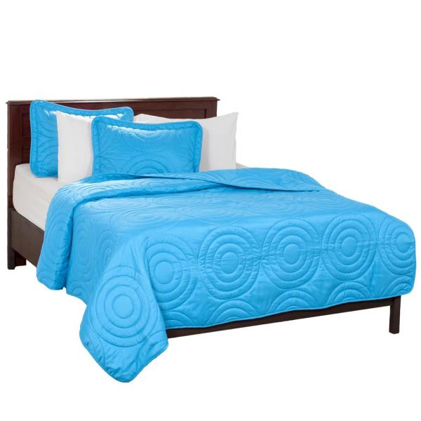 Lavish Home Embossed Blue Polyester Full/Queen Quilt 66-41-FQ-B