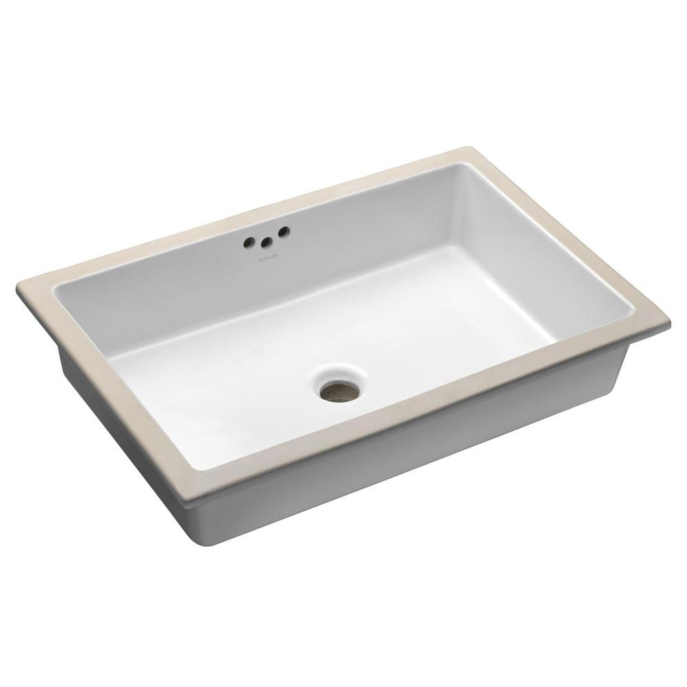Kathryn Vitreous China Undermount Bathroom Sink with Glazed Underside in White