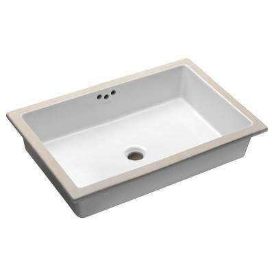 Kathryn Vitreous China Undermount Bathroom Sink with Glazed Underside in White with Overflow Drain