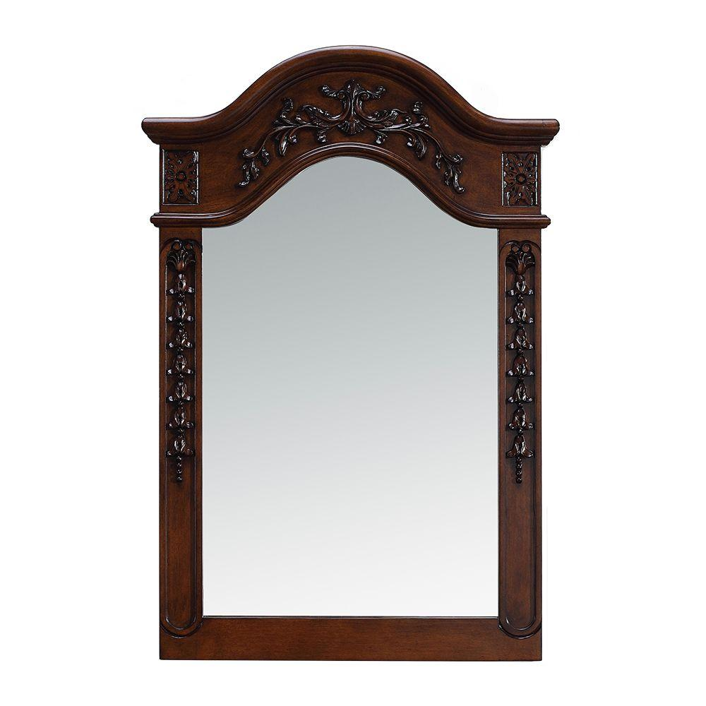 Belle Foret 24 In X 36 In Framed Single Wall Mirror In Dark Cherry