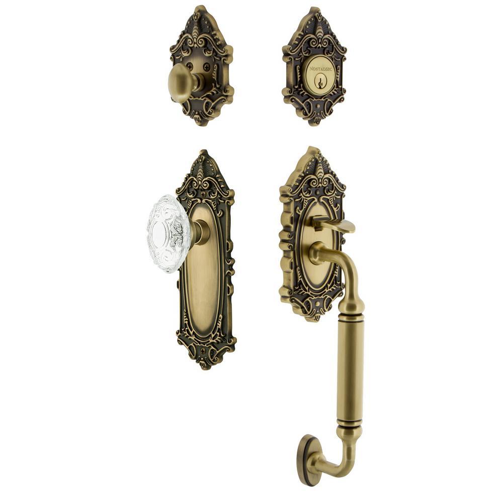Victorian Plate 2-3/8 in. Backset Antique Brass C Grip Handleset Crystal Victorian Door Knob