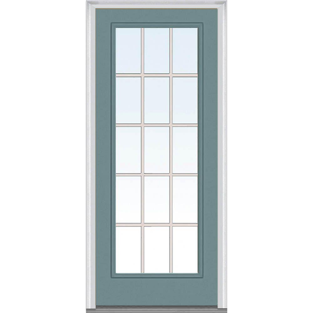 Mmi door 30 in x 80 in grilles between glass right hand for Upvc front door 78 x 30