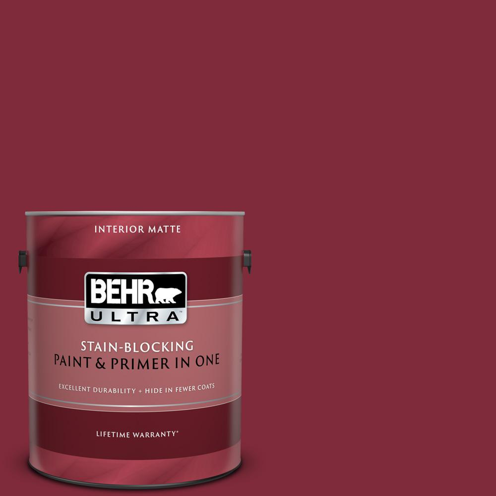 BEHR ULTRA 1 gal. #S-H-130 Red Red Wine Matte Interior Paint and Primer in  One