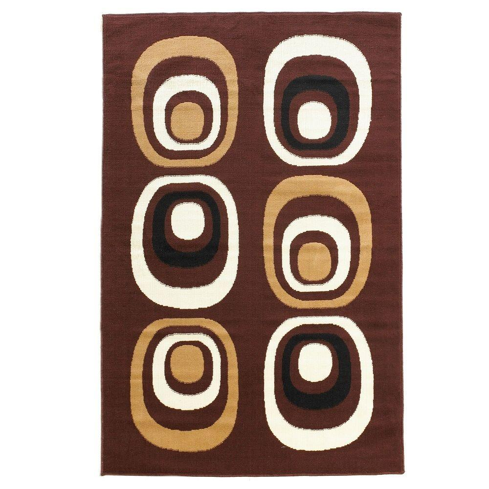 Linon Home Decor Capri Collection Brown And White 4 Ft 3 In X 7 Ft 3 In Indoor Area Rug Rug