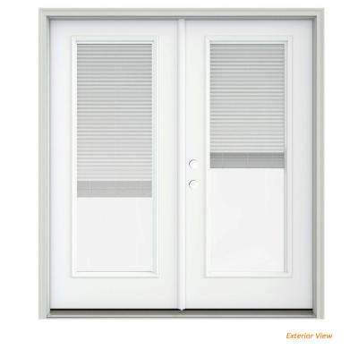 72 in. x 80 in. White Painted Steel Right-Hand Inswing Full Lite Glass Stationary/Active Patio Door w/Blinds