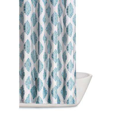 Annika 72 in. Teal Shower Curtain