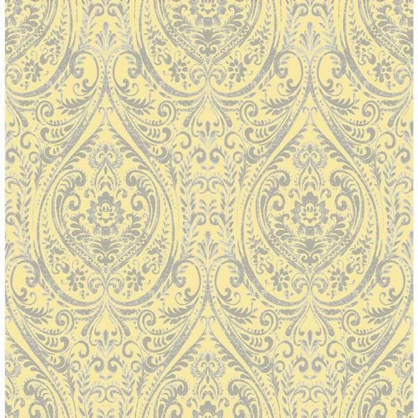Gypsy Yellow Damask Paper Strippable Roll Wallpaper (Covers 56.4 sq. ft.)