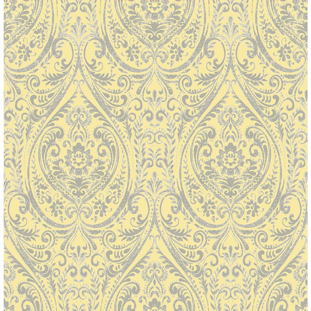A Street Gypsy Yellow Damask Wallpaper 1014 001868 The Home Depot