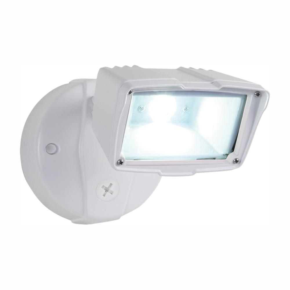 Halo White Outdoor Integrated Led Small Head Security Flood Light With 1475 Lumens 5000k Daylight Switch Controlled