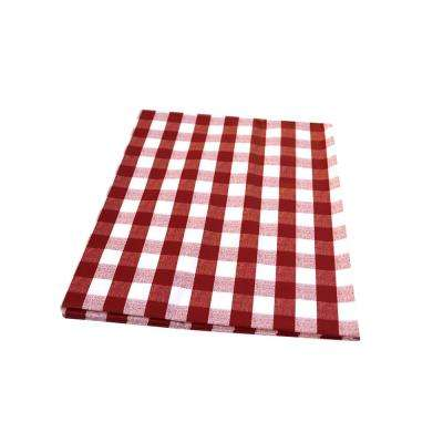 55 in. x 102 in. Indoor and Outdoor Red Checkered Design Tablecloth for Dining Table