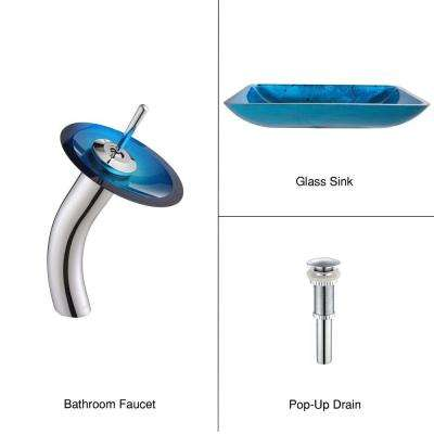 Rectangular Glass Vessel Sink in Irruption Blue with Single Hole Single-Handle Low Arc Waterfall Faucet in Chrome
