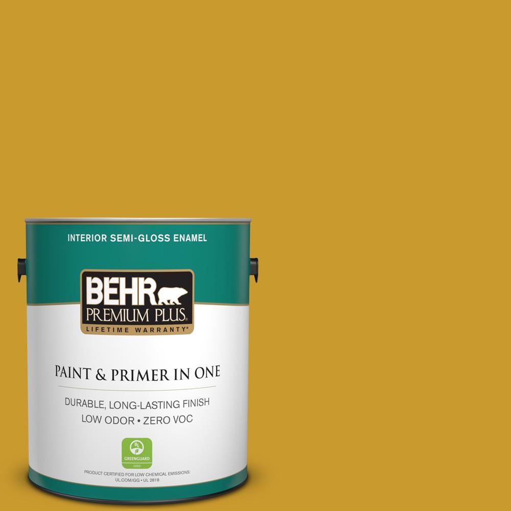 1 gal. #T16-09 Citronne Zero VOC Interior Semi-Gloss Enamel Paint