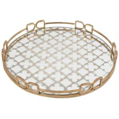 18 in. x 18 in. Decorative Tray in Rustic Brass