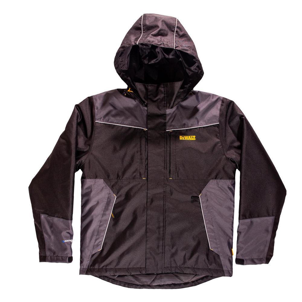 DEWALT Brookeville Men's Size Large Black Polyester Waterproof Hooded Jacket