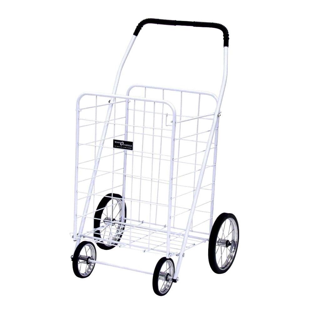 Easy Wheels Jumbo Shopping Cart in White The Easy Wheels Jumbo Shopping Cart has been the industry's premier cart with industrial strength for home use. When lying down, with the cart folded, the highest measurement is the wheels with a 9.75 in. Dia giving an incredible amount of convenience in a compact size. It comes with over 20 years of refinements and reliability. Color: White.
