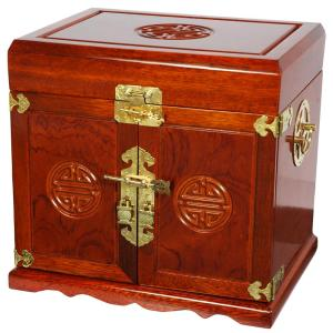 Oriental Furniture Honey Jewelry Box With 5 Drawers