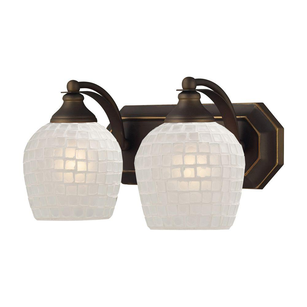 2-Light Aged Bronze Wall Mount Vanity Light