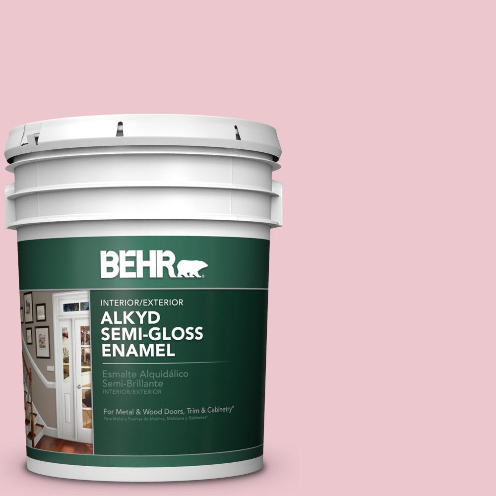 BEHR 5 gal. #M140-2 Funny Face Semi-Gloss Enamel Alkyd Interior/Exterior Paint The BEHR Alkyd Semi-Gloss Enamel provides the performance and durability of a traditional oil-base paint with the ease of use and convenience of a water-base paint. This professional quality finish offers excellent flow and leveling with easy water clean-up. Use on properly prepared interior/exterior metal and wood surfaces. Ideal for use on doors, trim, molding, cabinetry, plaster, masonry, cinder block, well-bonded wallpaper, brick, stucco, aluminum and wrought iron. Color: Funny Face.