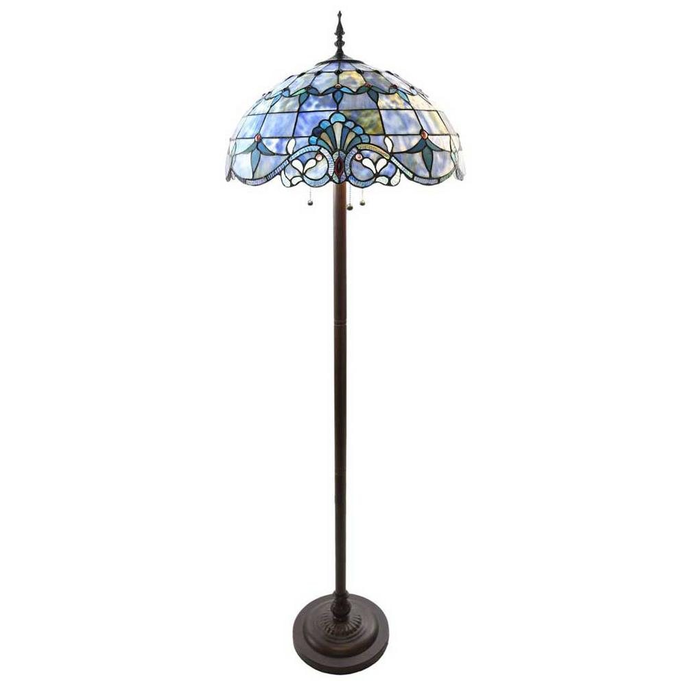 Blue Indoor Floor Lamp With Stained Glass Allistar Shade