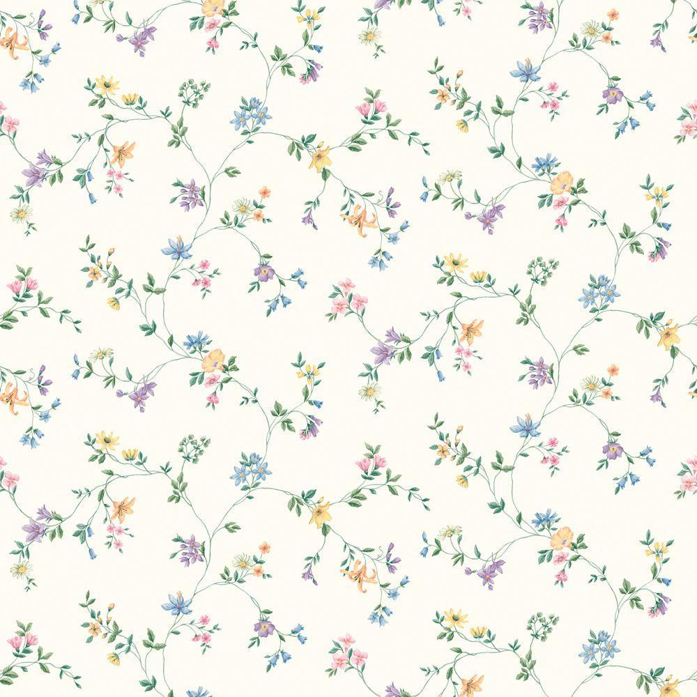 The Wallpaper Company 56 sq. ft. Multi Colored Wild Flower Trail Wallpaper