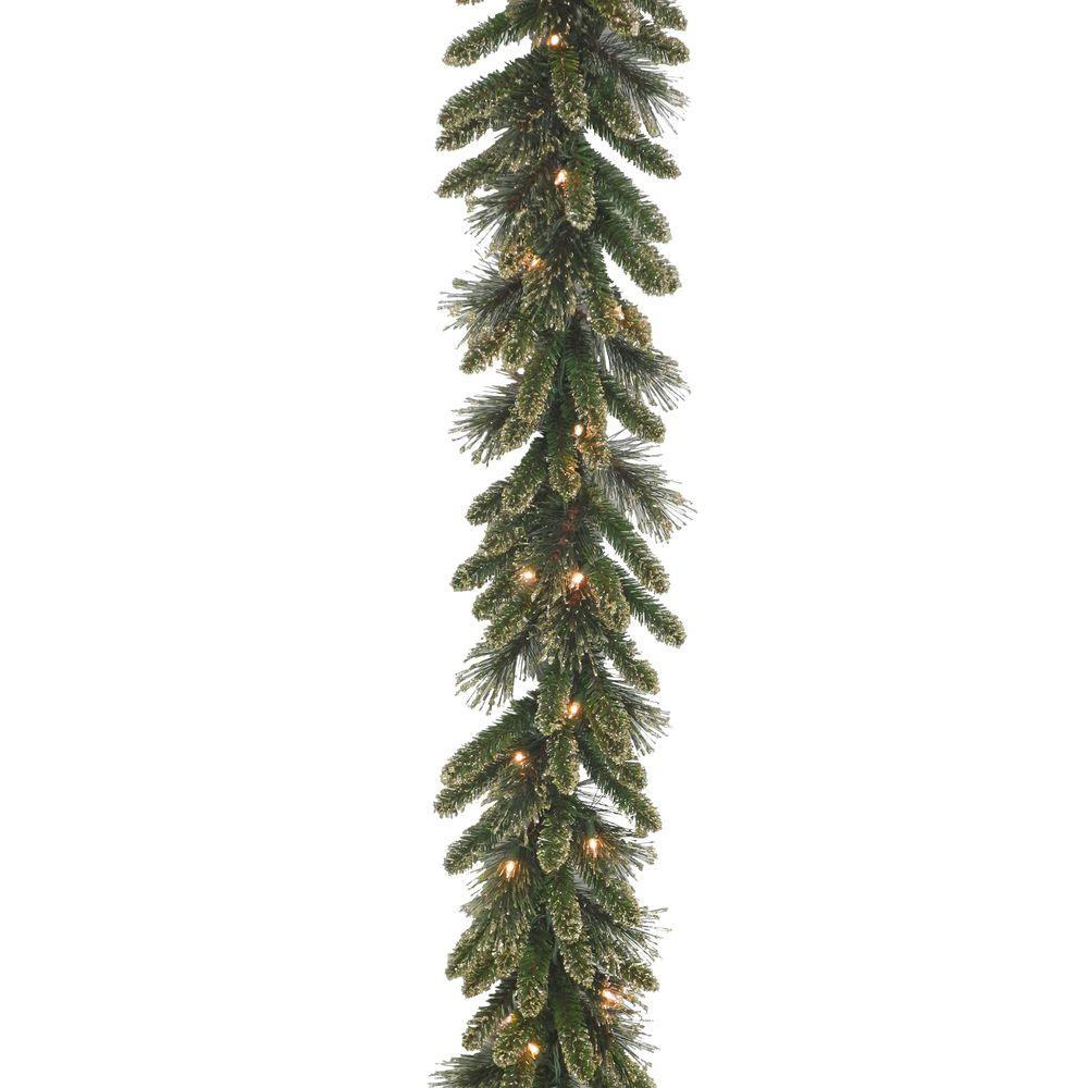 national tree company 9 ft x 10 in glittery gold pine garland with glitter