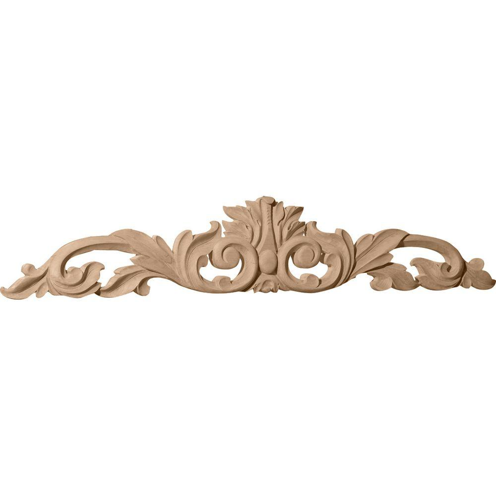 Ekena Millwork 3/4 in. x 24-3/4 in. x 5-1/8 in. Cherry Medium Green Leaf Center with Scrolls