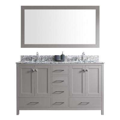 Caroline Madison 60 in. W Bath Vanity in C. Gray with Granite Vanity Top in Arctic White with Rnd. Basin and Mirror