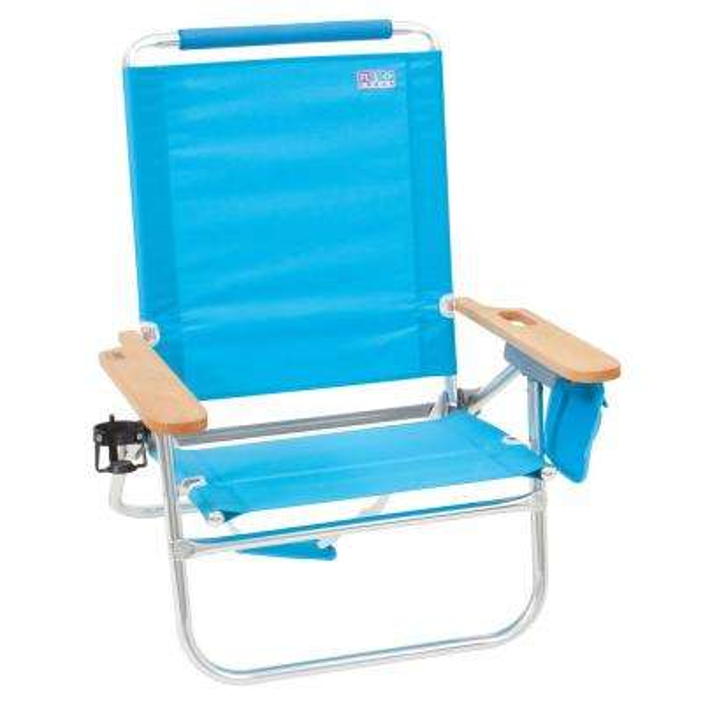 Beach Bum Blue Adjustable Metal Folding Beach Chair