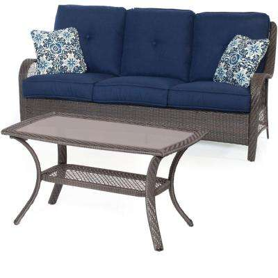 Orleans Grey 2-Piece All-Weather Wicker Patio Conversation Set with Navy Blue Cushions