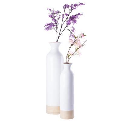 Glossy White Lacquer and Natural Bamboo Cylinder Shaped Tall Spun Bamboo Floor Vase (Set of 2)