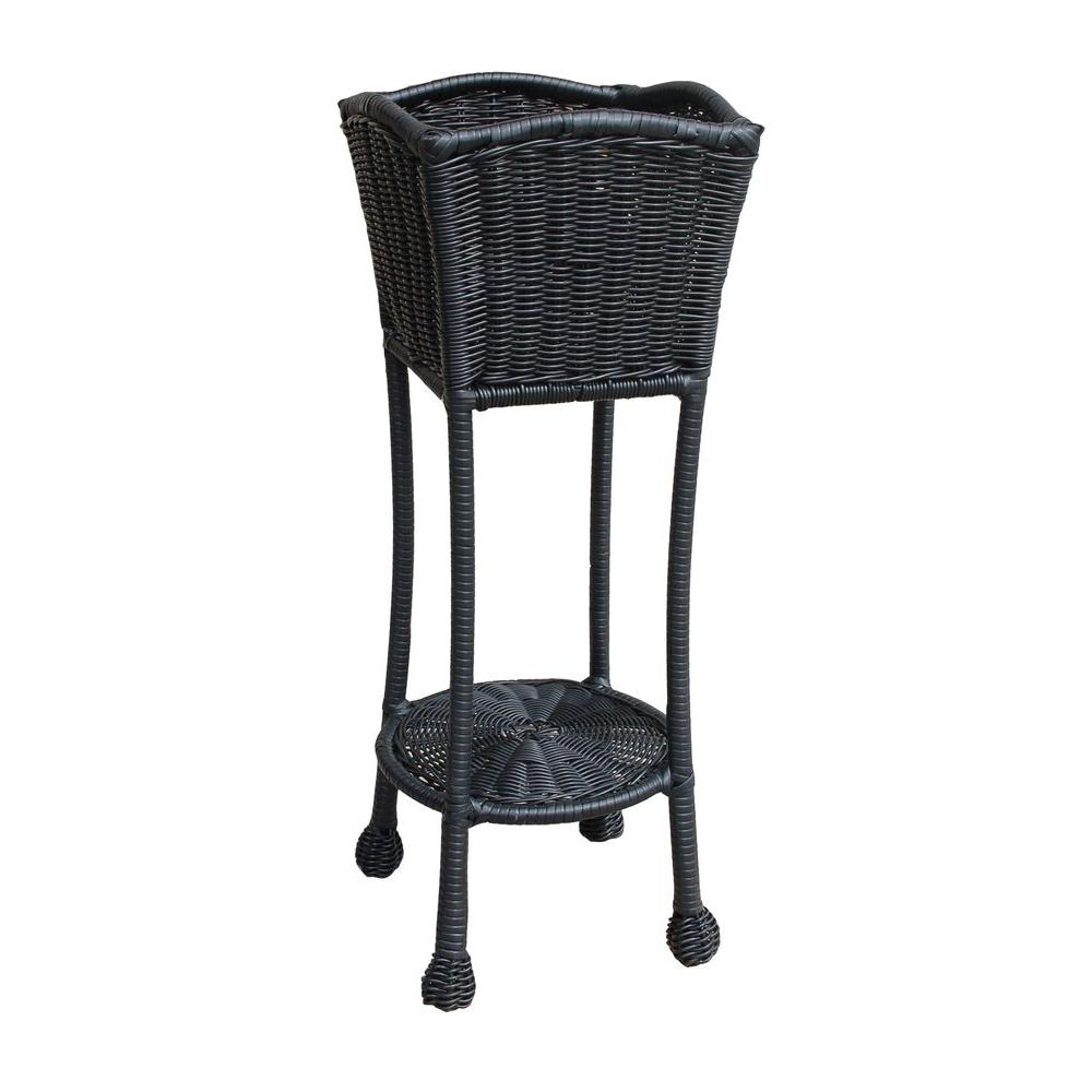Black Wicker Patio Furniture Planter Stand