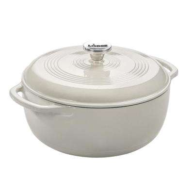 6 Qt. Round Enamel Cast Iron Dutch Oven in White Oyster