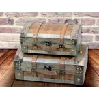 Vintiquewise Vintage Suitcase Style Gray Leather Chests (Set of 2)