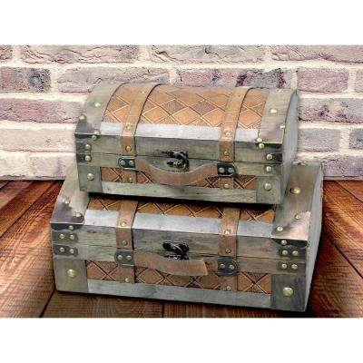 Vintage Suitcase Style Gray Leather Chests (Set of 2)