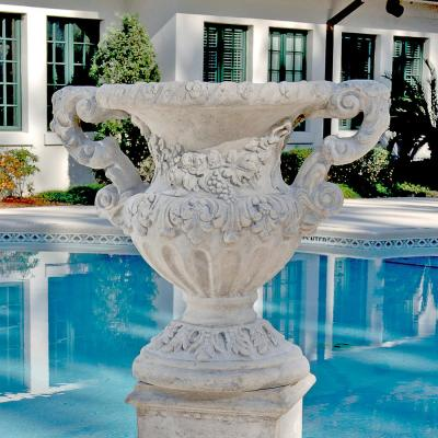 Elysee Palace Baroque Style 31 in. H Ancient Ivory Fiberglass Architectural Garden Urn
