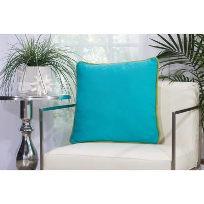 Corded Green and Turquoise Solid Stain Resistant Polyester 20 in. x 20 in. Throw Pillow