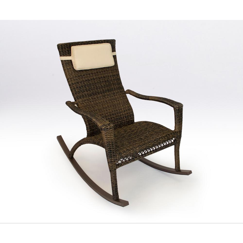 Tortuga Outdoor Maracay Pecan Wicker Oversized Outdoor Rocking Chair With  Head Cushion